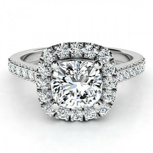 GIA Certified Diamond Engagement Ring 1.60 carat Cushion Shape 18K Gold VVS1