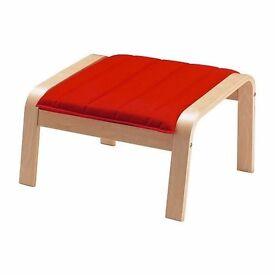 Footstool POÄNG Birch veneer/ransta red