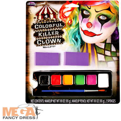 Colourful Killer Clown Face Paint Halloween Fancy Dress Circus Costume Make Up ](Make Orca Halloween Costume)