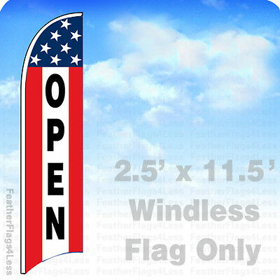 Open - Windless Swooper Flag 2.5x11.5 Feather Banner Sign - Stars 3 Stripe Rb