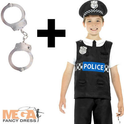 Cop + Handcuffs Boys Fancy Dress Policeman Officer Uniform Kids Childs Costume