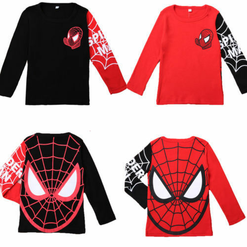 Kids Boys Spiderman Superhero T-Shirt Long Sleeve Crew Neck