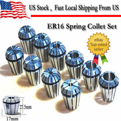12pcs Er16 Spring Collet Set For Cnc Milling Lathe Engraving Machine Tool