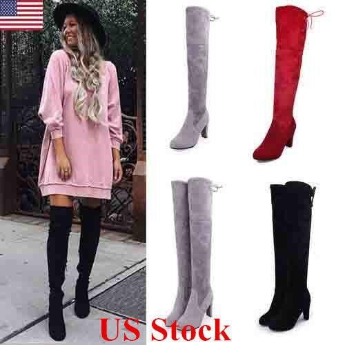 Boots - US New Womens Suede Over The Knee Boots Block High Heel Lace Thigh Stretch Shoes