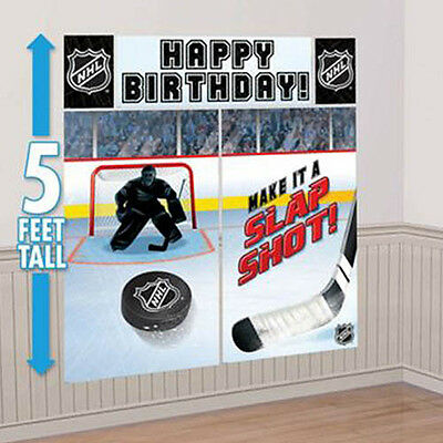 NHL HOCKEY WALL POSTER DECORATING KIT (5pc) ~ Birthday Party Supplies Plastic - Hockey Birthday Party Supplies