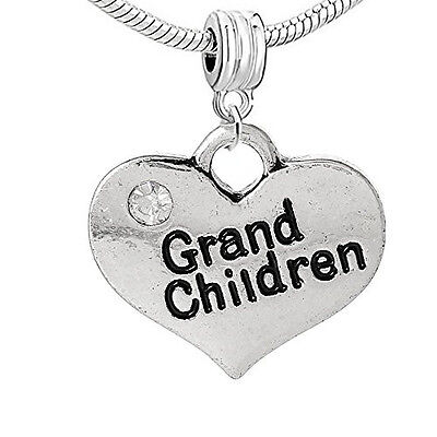 Heart 2 Sided w/  Crystal Stones Grand Children Charm