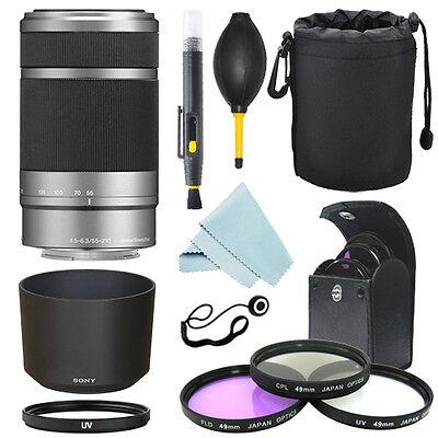 Sony E 55-210mm F4.5-6.3 Lens for Sony E-Mount Silver+ Filter Kit+ Accessory Kit