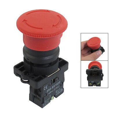 NC N/C Red Mushroom Emergency Stop Push and Lock Button Switch #NP5
