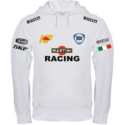 Sweatshirt Lancia Martini Racing Weiß Schwarz Polo Hemd T-Shirt Halsband Band Sweatshirt