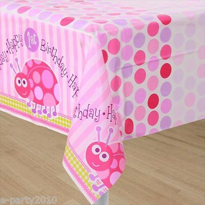 LADYBUG 1st BIRTHDAY GIRL PLASTIC TABLE COVER ~ First Party Supplies Decorations - Ladybug 1st Birthday