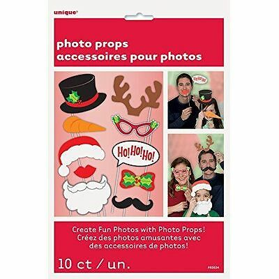 10 Piece Christmas Party Photo Booth Prop Pack Ho Ho Santa Reindeer Snowman