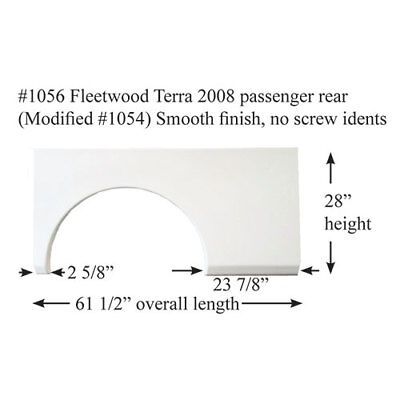 Fleetwood RV Single Panel Fender Skirt Fiberglass #1056 White PASSENGER REAR
