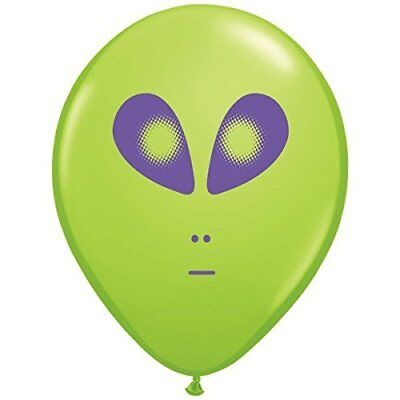 Space Alien Print Lime Green Latex Balloons 5 Count ()