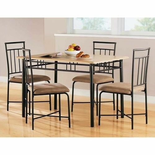 5 piece dining set wood metal 4 chairs and kitchen table for 4 chair kitchen table set