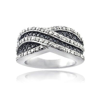 925 Silver 1 2ct Treated Black White Diamond Curve Band Ring