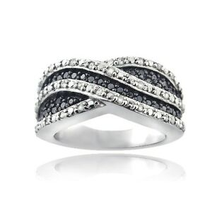 925 Silver 1/2ct Black & White Diamond Curve Band Ring