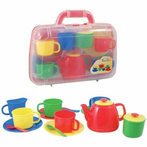 Tea Set - Portable in Carry Case Children's Kids Plastic Toy Set - RED