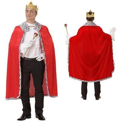 Männer König Krone (ROTER KÖNIG UMHANG & KRONE Fasching Herren Männer King Kostüm 098)