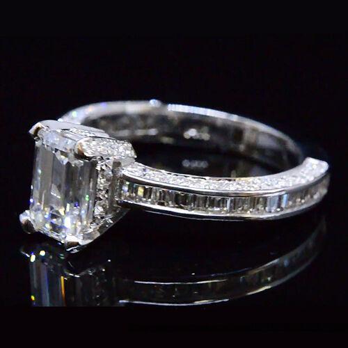 2.49 Ct Emerald Cut Diamond Engagement Ring Baguette Accents E,VS1  GIA 14K WG 2