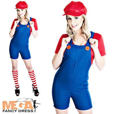 Red Plumbers Mate Mario Girl 80s Fancy Dress Adult 1980s Costume + Hat UK - Girls Mario Kostüm