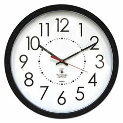 Chicago Lighthouse Electric Contemporary Clock, 14-1/2, Black (ILC67801103)