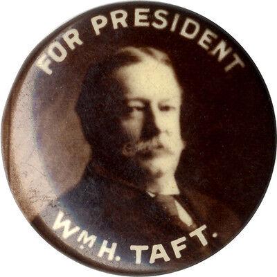 "1908 William Howard Taft Photo Campaign Button ~ 5/8"" size (4423)"