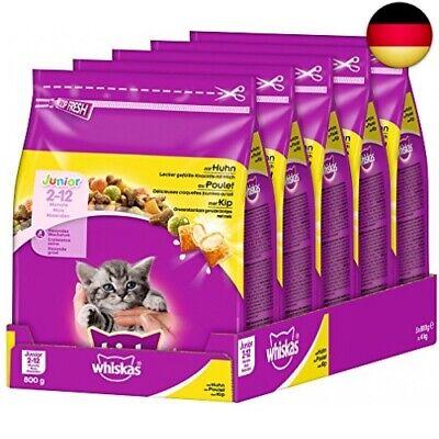 Whiskas Katzenfutter Trockenfutter Junior <1 für Kätzchen/  (Huhn, 5 x 800g)