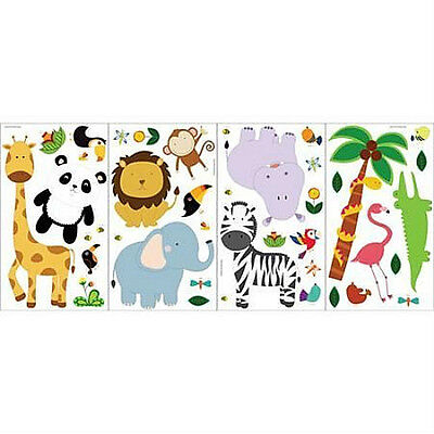 JUNGLE ANIMALS wall stickers 41 decals tree monkey elephant lion ZOO (Jungle Animals Wall Stickers)