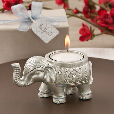 12 Good Luck Silver Elephant Candle Holders Bridal Shower Wedding Favors (Elephant Candle Favors)