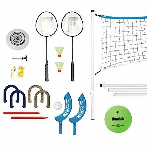 Franklin Sports Yard Games Combo Set - Volleyball/Badminton Net, 2 Player