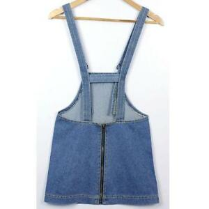 0a91ade392b Jean Overall Skirts · Women Denim Jeans Overall Dungaree Midi Dress Ladies  Casual Suspender Skirt