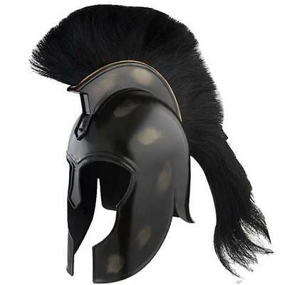 Achilles TROJAN Helmet Replica Myrmidon 18ga CARBON STEEL Black Plume FUNCTIONAL