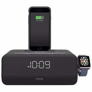 iHome IPLWBT5BC Bluetooth Clock Radio with Apple Watch and Lightning Charging Dock – Black(Open Box)