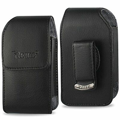 Black leather vertical case fits Kyocera Cadence Flip - Black Vertical Flip Case
