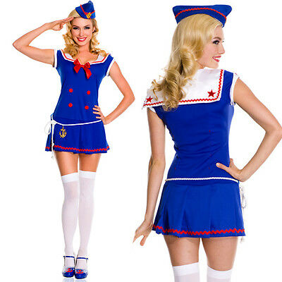 Adult Sailor Dress Pin Up Retro Navy Halloween Costume Mini Dress w/ Belt S-XL