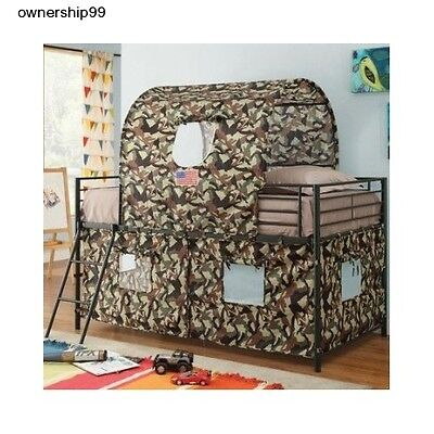 Boys Twin Loft Bed Camouflage Army Fort ...