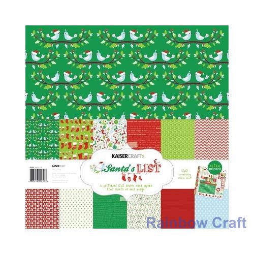 Kaisercraft Paper Pack Bonus Sticker Sheet Christmas Carol Secret garden - Santa's List