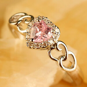 Heart Cut 724AAAR Noble Pink & White Topaz Gems Silver Ring Size 9 Free Ship