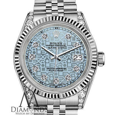 Women's Rolex 36mm Datejust 18k & SS Jubilee Ice Blue Face with Diamonds