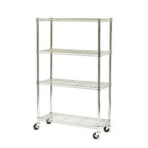 New-Chrome-Commercial-4-Layer-Shelf-Adjustable-Steel-Wire-Metal-Shelving-Rack