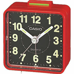 Casio TQ140-4D Black Dial Easy Reader Red Table Top Travel Alarm Clock
