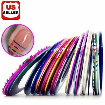 18 Color/Rolls Nail Striping Tape Line Tips Sticker Nail Art Decoration Manicure Health & Beauty