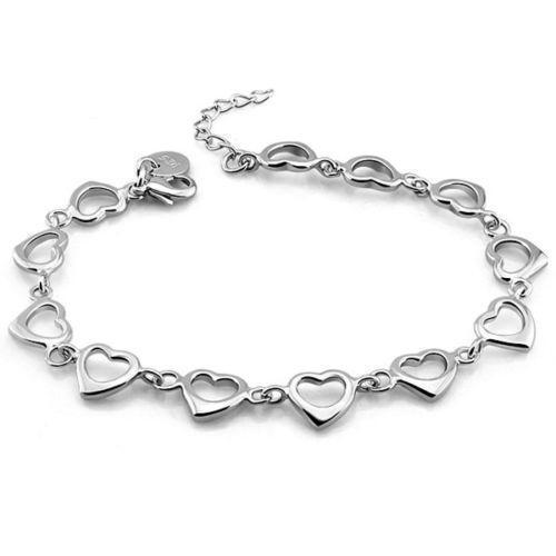 Sterling Silver Heart Link Bracelet Ebay