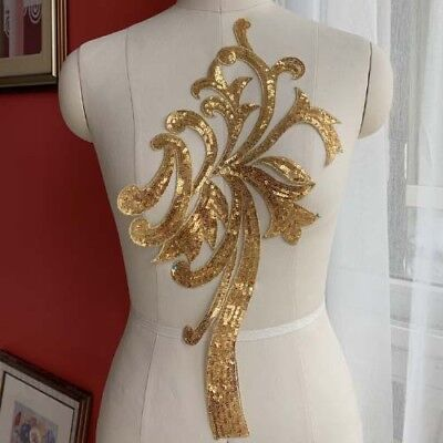 1 Pair Gold Silver Sequins Bridal Lace Applique For DIY Dress Costume Sew On - Couple Costumes Diy