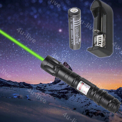 Professional Powerful Green Laser Pointer Lights Pen Lazer Beam Charger Battery