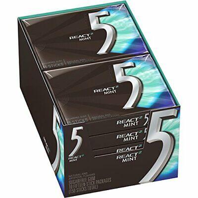 5 Gum React Mint Sugarfree Gum 10 Packs 150 Pieces Total