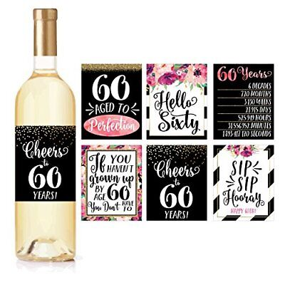 6 60th Birthday Wine Bottle Labels or Stickers Present, 1958 Bday Milestone - 60th Bday Decorations