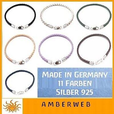Lederarmband Silber 925 Karabiner geflochten für Beads + Charms Made in Germany ()