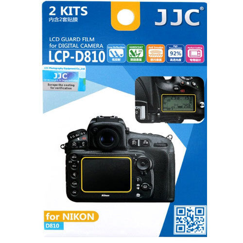 JJC LCP-D810 polycarbonate LCD Film Screen Protector For Nikon D810 2 Pack