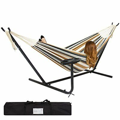 Best Choice Products Outdoor Double Hammock Set w/ Steel Stand, Cup Holder,